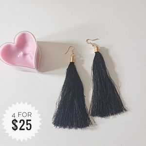 Jewelry - Black Boho Tassel Earrings